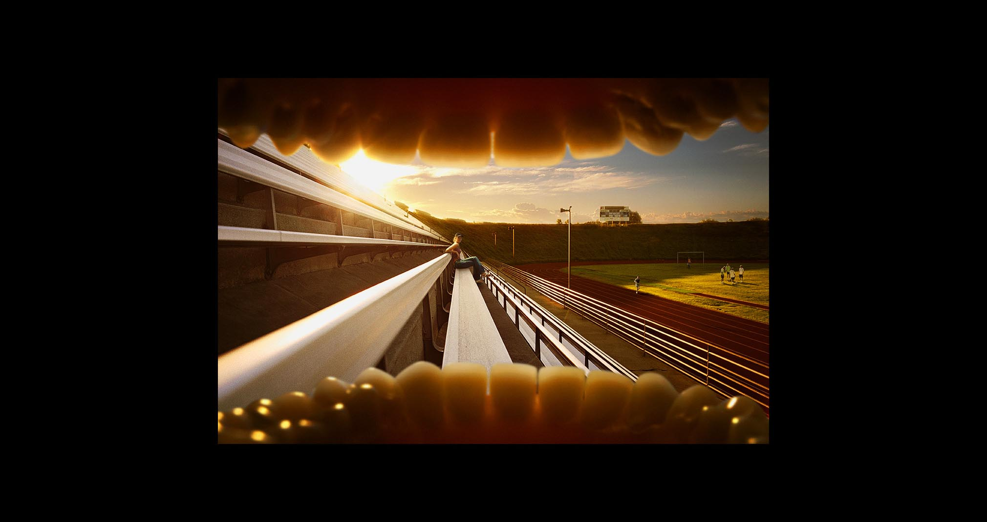 Bleachers of track and field stadium